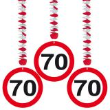 Wirbel-Deckenhänger Verkehrsschild 70. Geburtstag 3er Pack