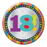 "XXL Button 18. Geburtstag ""Happy Dots & Stripes"" 15 cm"