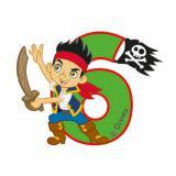 """Zahlenkerze 6 """"Jake & die Nimmerland Piraten"""" 6 cm"""